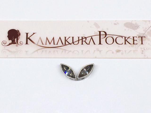 ヴィンテージスワロフスキー#4200-BLD-8×3 ブラックダイヤモンド/銀古美 2個