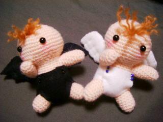 天使と悪魔 べビィの編みぐるみ