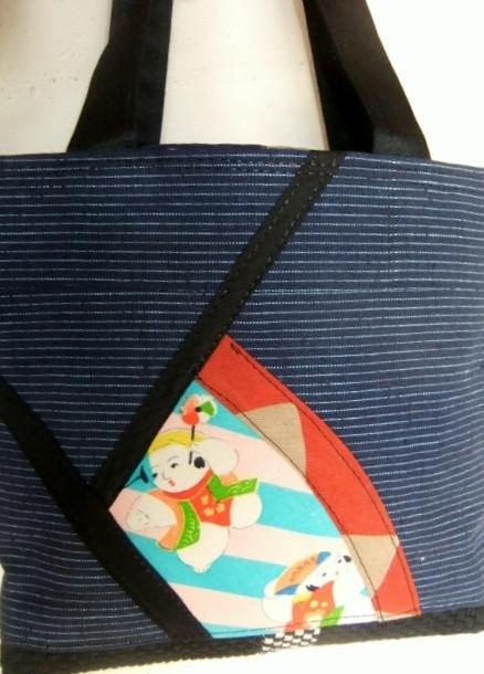 着物リメイク 四国の土佐紬で作った手提げ袋 773