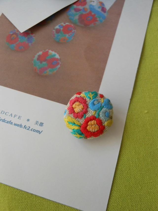 お花刺繍 ボタン A