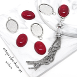 Red(8pcs)antique silver charm kit