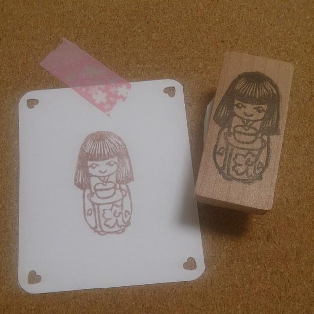 【初売りsale】お茶運び人形はんこ【送料込】