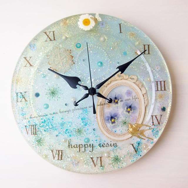 お花の壁掛け時計