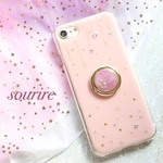 pink starry sky★ スマホリング付き 押し花iPhoneケースiPhone11 iPhone12 SE2 スマホケース Android Galaxy Xperia クリアケース