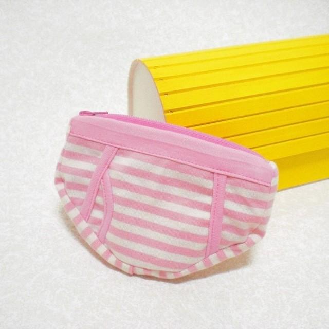 パンツポーチ(しましま・ピンク色)