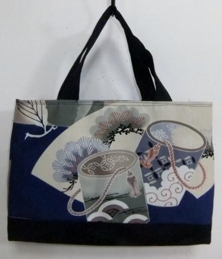 着物リメイク お宮参り着と藍で作った手提げ袋 785