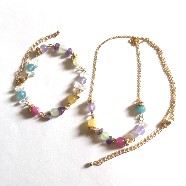 Candy Color Necklace and Bracelet