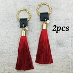 【chmm4042tasl】【2pcs】glitter ring×red tassel