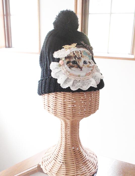 子猫コラージュニット帽★ブラック