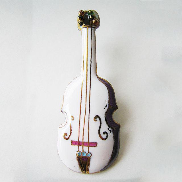 七宝焼ブローチ バイオリン(白)