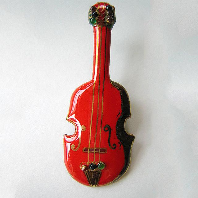 七宝焼ブローチ バイオリン(赤)