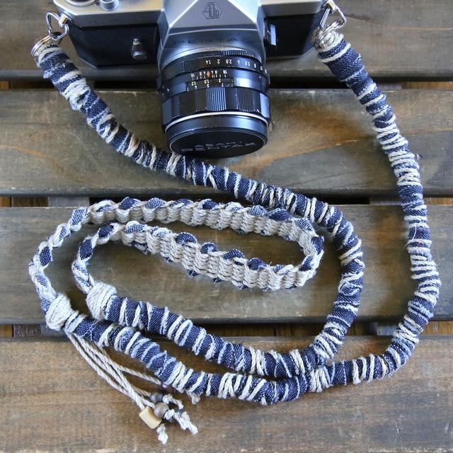 デニム裂き布麻紐ヘンプカメラストラップ(2重リング)