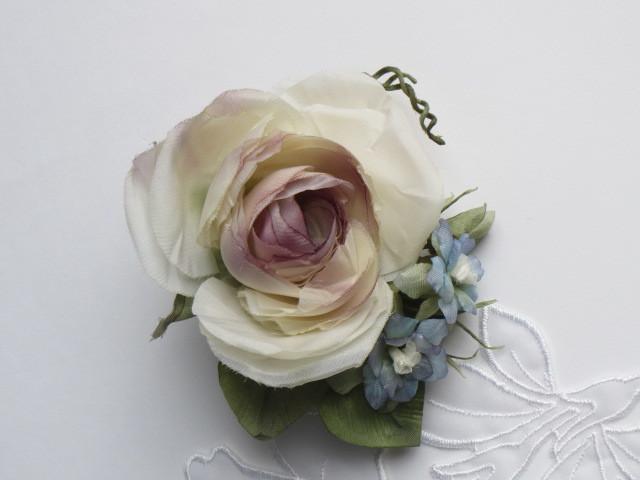 アンティークピンク薔薇のコサージュ
