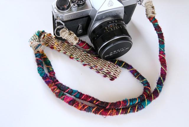 Crazy-color麻紐ヘンプカメラストラップ(2重リング)