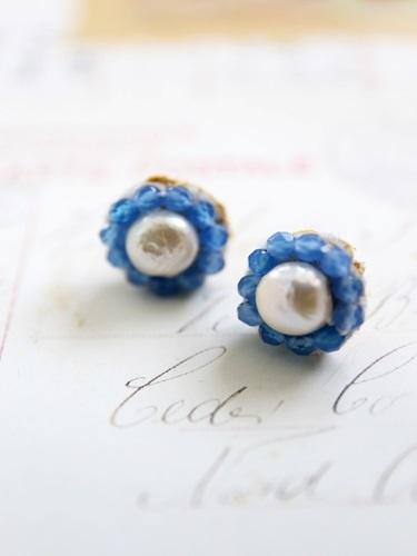 天然石 twinkle Bijouピアス (メノウ 淡水パール)[kgf0250]