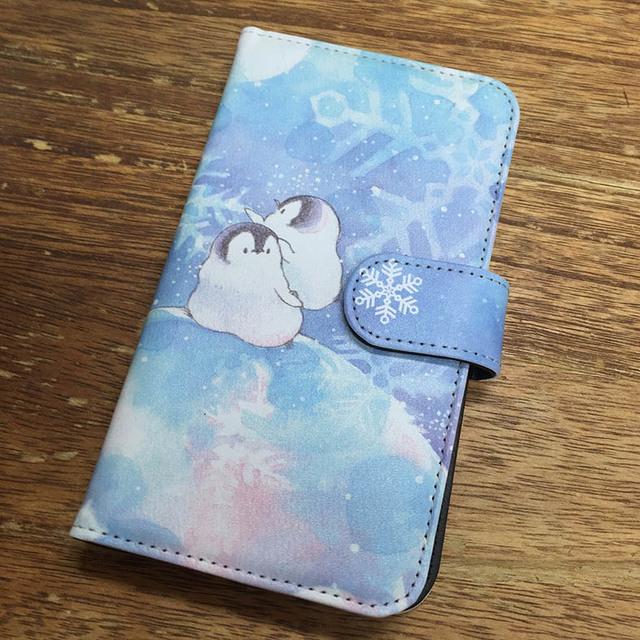 スマホ用手帳型ケース 銀河雪
