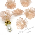 6pcs)pink beige marble flower beads