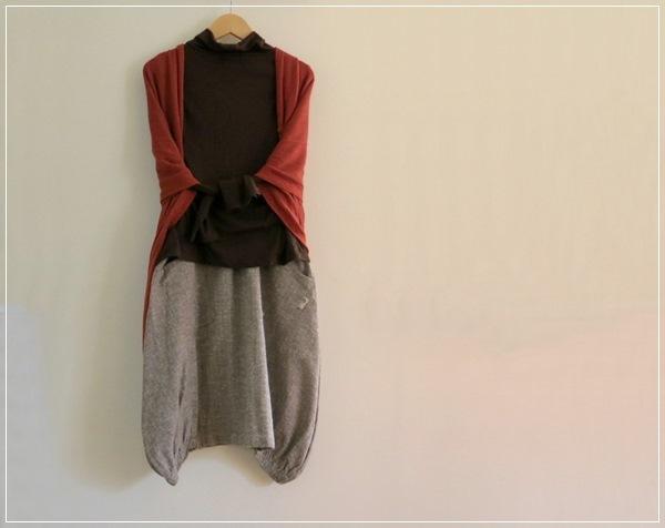 ほわほわ ヘムライン バルーンスカート+リバティ ブラウン