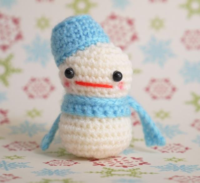 【送料込】雪だるまさん(水色)