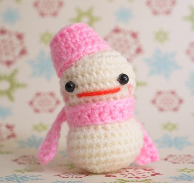 【送料込】雪だるまさん(ピンク)