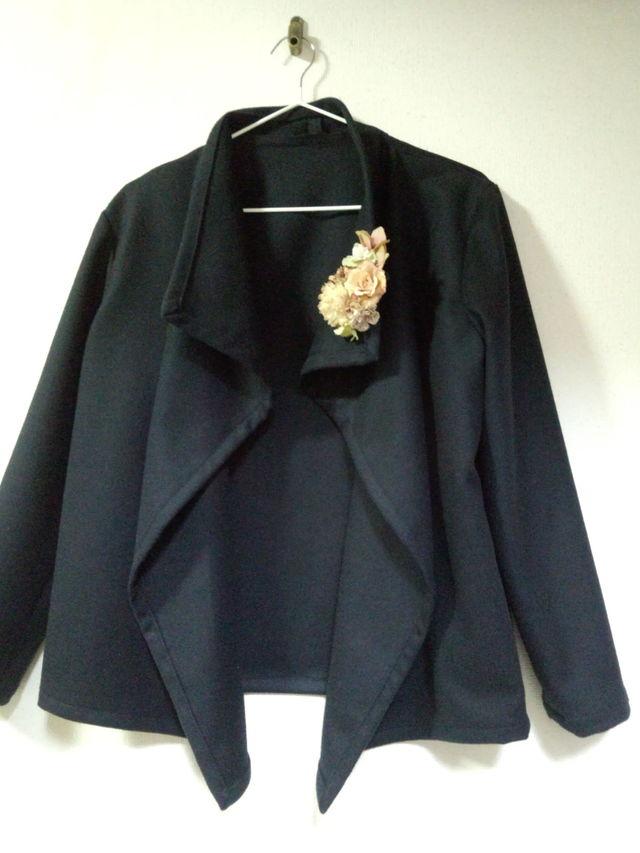 Lサイズ 濃紺のシンプルなカシミア混紡ウールジャケト