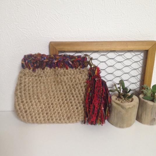 【ご予約品】麻紐とエスニック糸のバネポーチ
