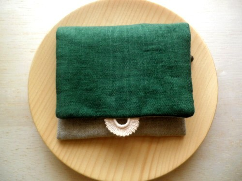 mini  purse pouch ( forest green&lace )