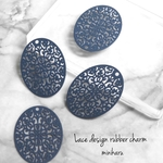 BLUE(4pcs) Lace design rubber charm