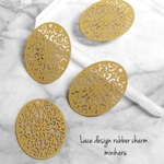 MUSTARD(4pcs) Lace design rubber charm