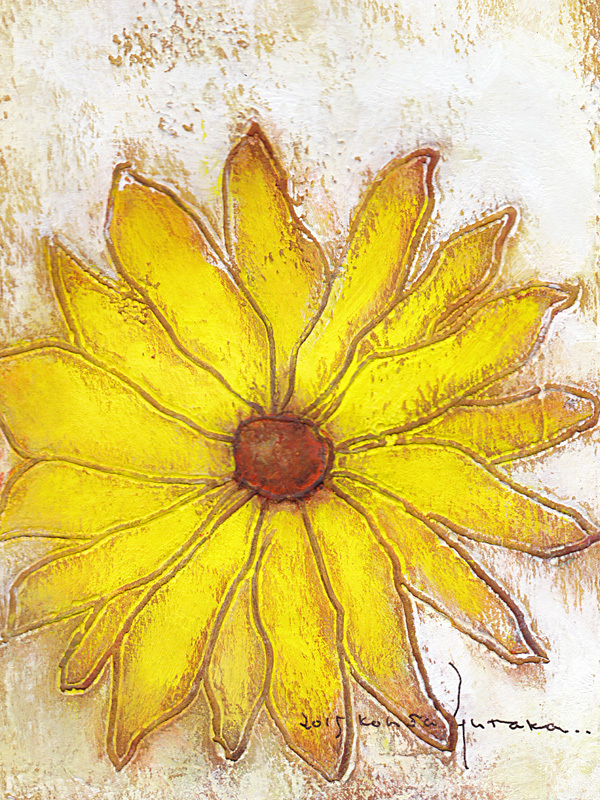 きいろい花 (額縁付き)