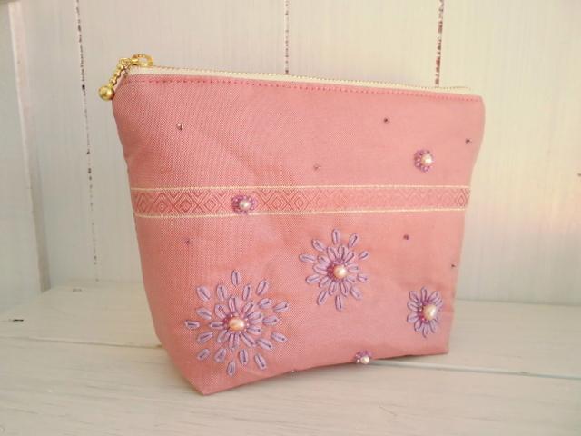 淡水パールの贅沢ポーチL(ピンク)