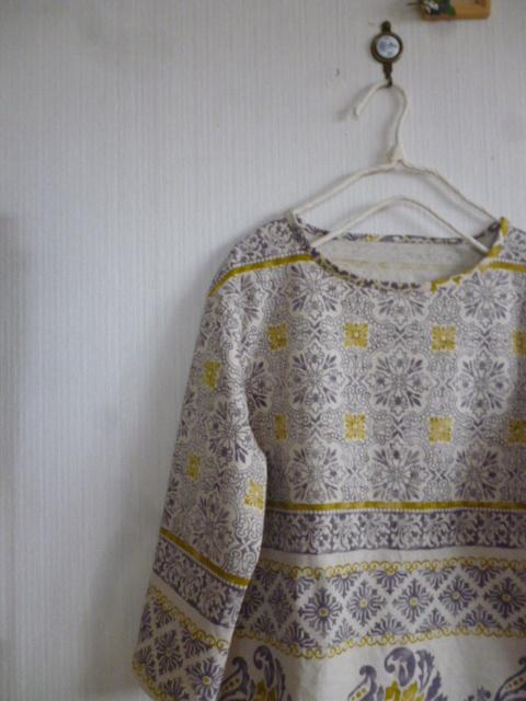 東欧調綿麻の肩落ちシンプルAラインワンピトルコタイル