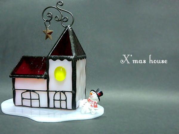 「X'mas house」クリスマス LEDキャンドル ステンドグラス