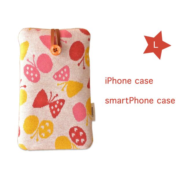 受注制作【L】iPhone7Plus 6sPlus 6Plus スマホケース(りぼんチョウチョ)