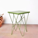 wire stool  olive green
