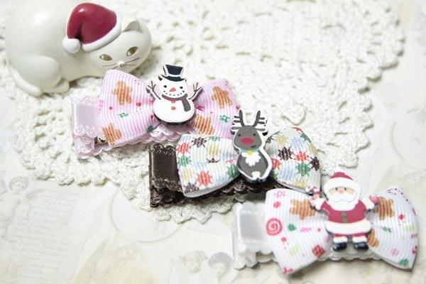 クリスマス☆リボンのヘアクリップ☆№1