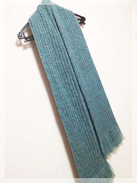 シンプルなゴム編みマフラー(ターコイズ)