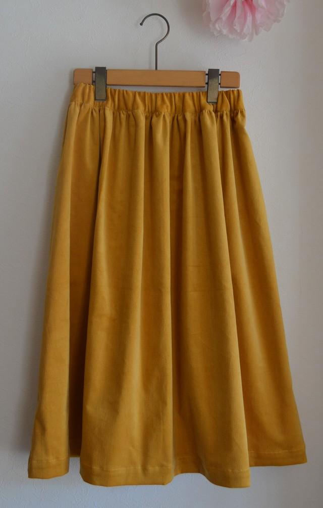 コーデュロイ シンプルギャザースカート ミモレ丈 からし色
