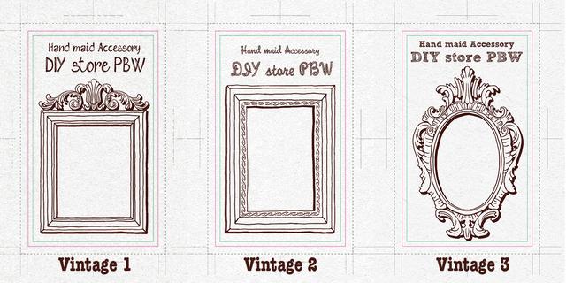 【送料込】デザイン・色を選べる♡ピアス・イヤリング・アクセサリー台紙│カット済 Sサイズ200枚/Mサイズ100枚【vintage】