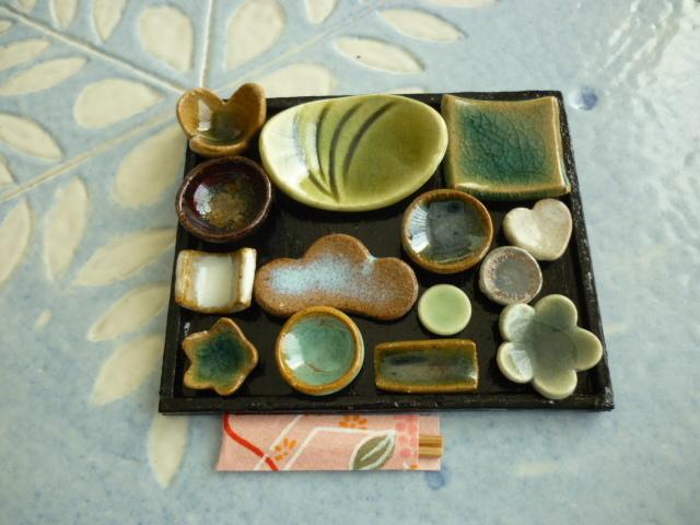 ミニチュア陶器☆会席膳 織部線紋楕円皿