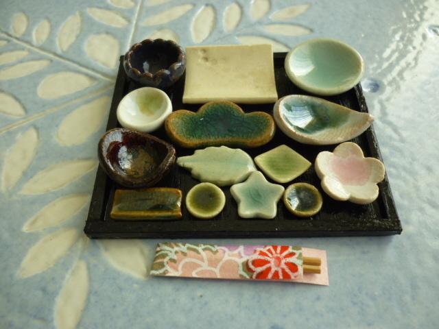 ミニチュア陶器☆会席膳 織部白角皿