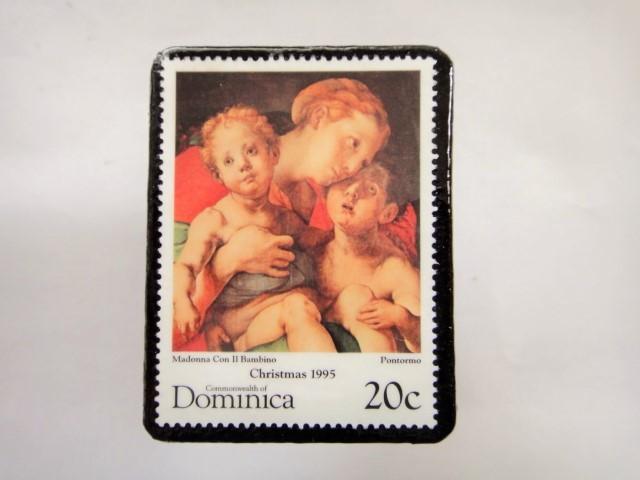 ドミニカ クリスマス切手ブローチ340