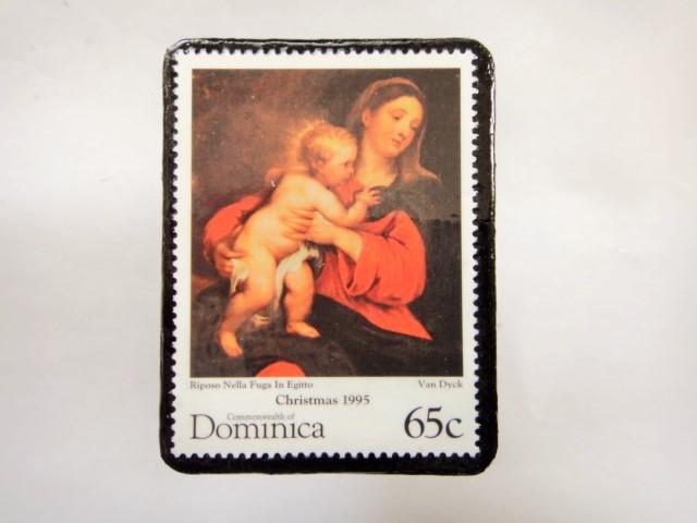 ドミニカ クリスマス切手ブローチ341