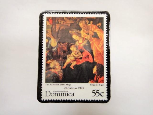 ドミニカ クリスマス切手ブローチ342