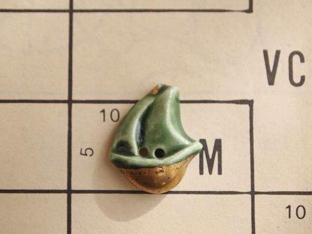 フランス 陶器製ボタン ヨット