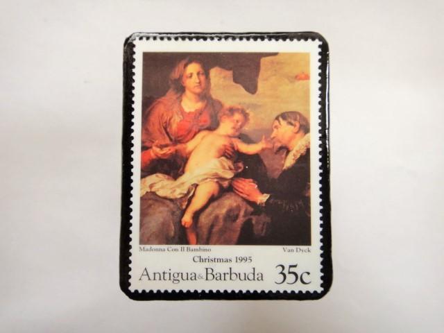 アンチグア クリスマス切手ブローチ343