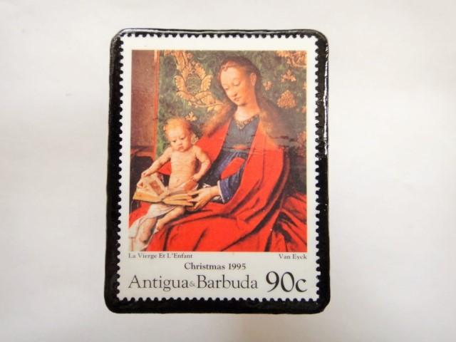 アンチグア クリスマス切手ブローチ344