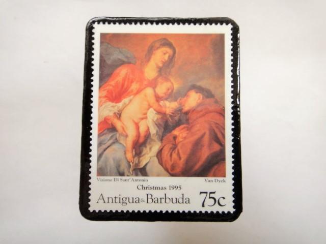 アンチグア クリスマス切手ブローチ346
