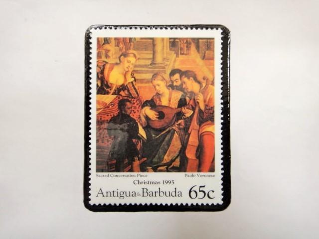 アンチグア クリスマス切手ブローチ347