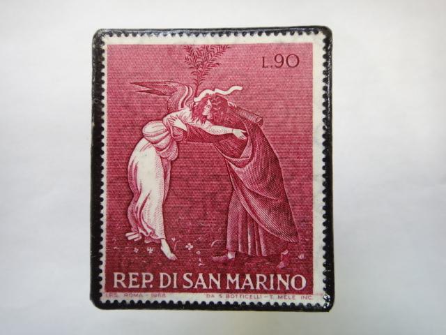 サンマリノ クリスマス切手ブローチ348